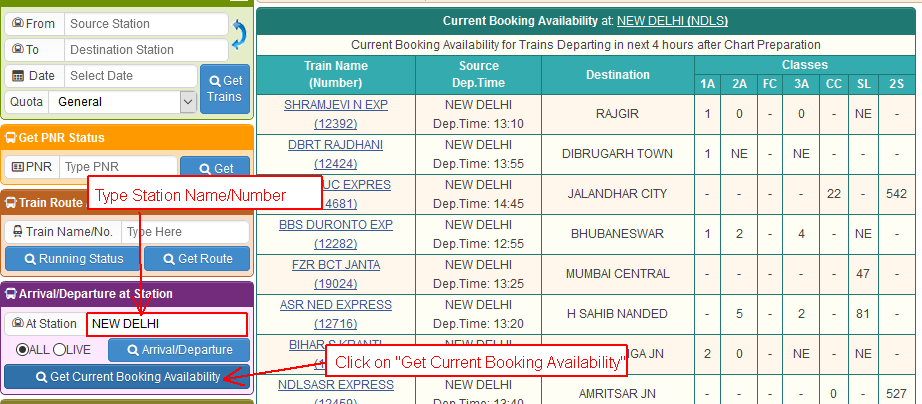 Help Contents Get Current Booking Availability At Station