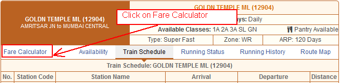 Change your Station Name to get fare between Desired Stations for that train .