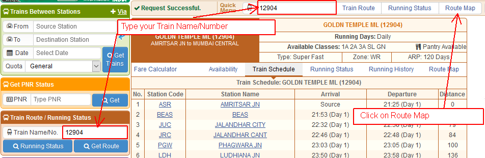 Help Contents - Get Train Route Map
